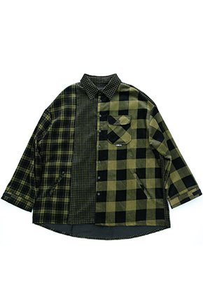 AJO BY AJO아조바이아조 Corduroy Check Shirt Outer (Yellow)