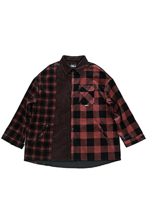 AJO BY AJO아조바이아조 Corduroy Check Shirt Outer (Red)