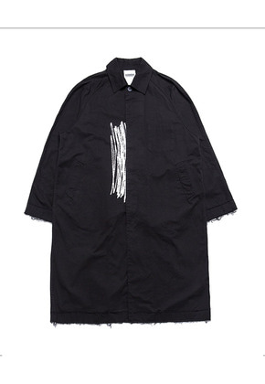 HANAH하나 RAW-CUT TRENCH COAT(BLACK)