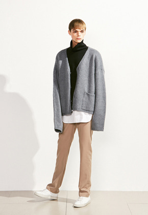 Voiebit브아빗 V522 OVERSIZE POCKET WOOL CARDIGAN KNITGRAY