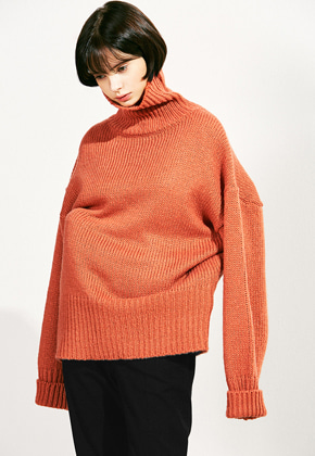 Voiebit브아빗 V523 LOOSE HEM  TURTLENECK WOOL KNITORANGRED