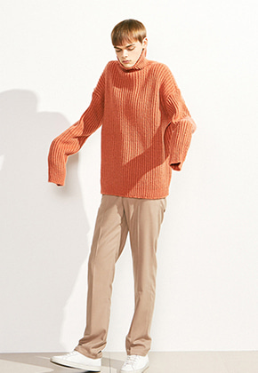 Voiebit브아빗 V526 OVERSIZE TURTLE NECK WOOL KNITORANGERED