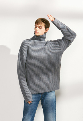 Voiebit브아빗 V526 OVERSIZE TURTLE NECK WOOL KNITGRAY