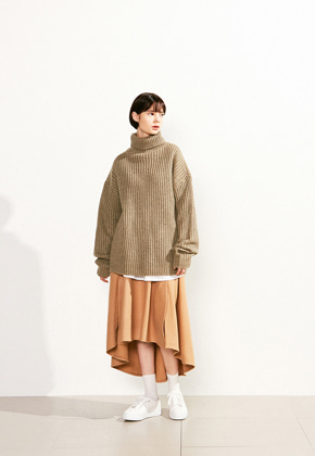 Voiebit브아빗 V526 OVERSIZE TURTLE NECK WOOL KNITOATMEAL