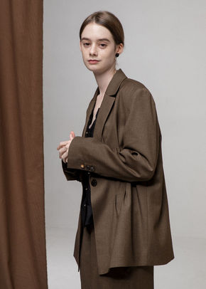 Ainsinov앙시노브 SET-UP PINTUCK JACKET (BROWN)