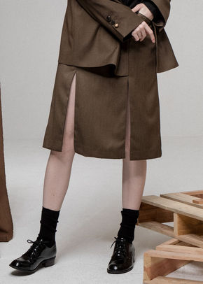 Ainsinov앙시노브 SET-UP SLIT SKIRT (BROWN)