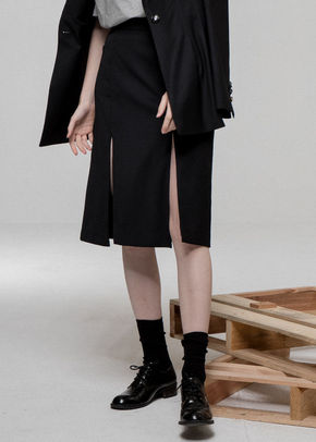 Ainsinov앙시노브 SET-UP SLIT SKIRT (BLACK)