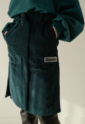 ESC Studio이에스씨스튜디오 corduroy belt skirt green
