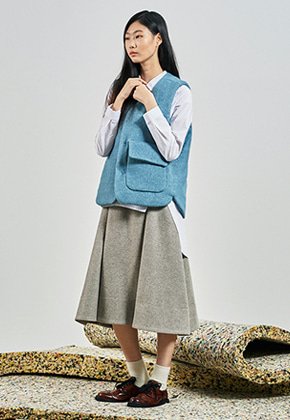 SEC세크 Classic A-Line Skirt_Light Warm gray Wool
