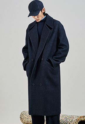 SEC세크 [UNISEX] Tailored Double Breasted Long Coat_Denim Like