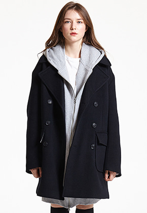 INDIGO CHILDREN인디고칠드런 OVERSIZED PEA COAT [BLACK]