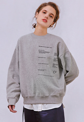 More or Less모어올레스 CAMPAIGN NAPPING SWEATSHIRTSMELANGE