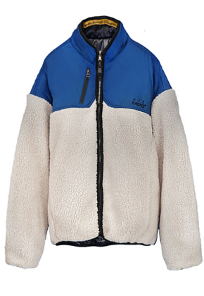 MPQ엠피큐 SIGNATURE REVERSIBLE FUR JUMPER (BLUE/IVORY)