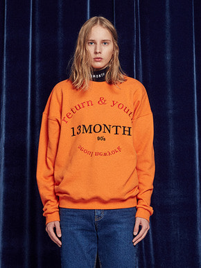 13Month써틴먼스 RETURN AND YOUTH SWEATSHIRT (ORANGE)
