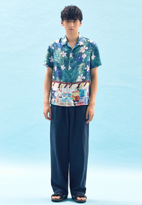 Freiknock프라이노크 PRINT BLOCKED OPEN COLLAR SHIRT(MULTI)