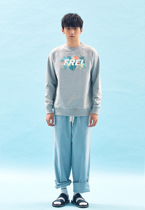 Freiknock프라이노크 FLOWER BASED BIG LOGO SWEATSHIRT(GREY)