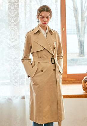 Yan13얀써틴 UNBALANCE ROBE TRENCH COAT_BEIGE