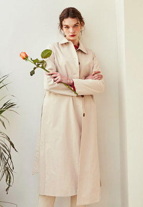 Yan13얀써틴 ROBE SINGLE TRENCH COAT_LIGHT BEIGE
