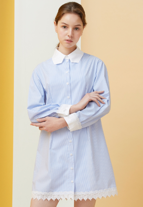 Millogrem밀로그램 Polygon Collar Stripe Dress_Blue
