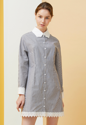 Millogrem밀로그램 Polygon Collar Stripe Dress_Black