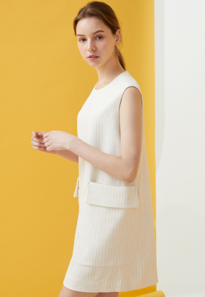 Millogrem밀로그램 Double Pocket Pinstriped Dress_Ivory