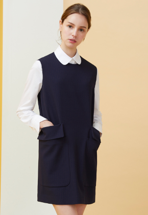 Millogrem밀로그램 Double Pocket Pinstriped Dress_Navy