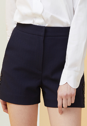Millogrem밀로그램 Side Button Pinstriped Shorts_Navy
