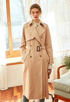 Yan13얀써틴 UNBALANCE ROBE TRENCH COAT_LIGHT PINK