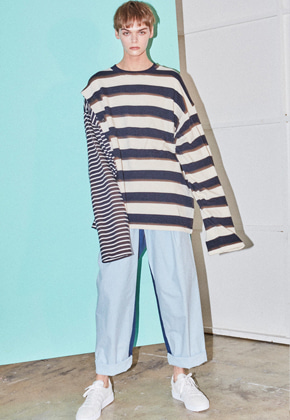 NOHANT노앙 DOUBLE STRIPED COTTON-JERSEY T-SHIRT STRIPE-NAVY