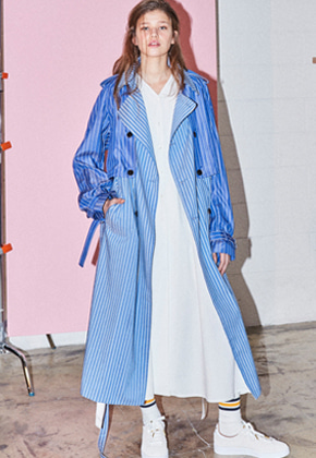 NOHANT노앙 DETACHABLE TRENCH-COAT STRIPE-BLUE