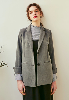 Yan13얀써틴 LINE FIT SINGLE BLAZER_GRAY