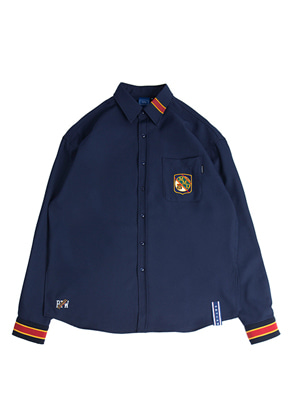 Romantic Crown로맨틱크라운 Striped Cuffs Shirt_Navy