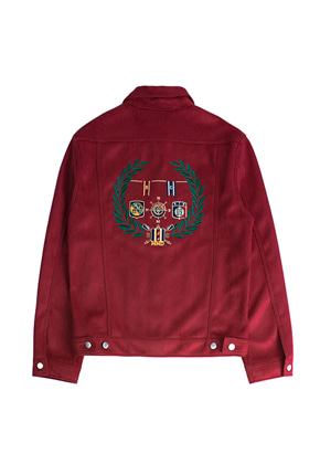 Romantic Crown로맨틱크라운 Suede Patch Jacket_Burgundy