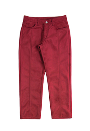Romantic Crown로맨틱크라운 Suede Pants_Burgundy