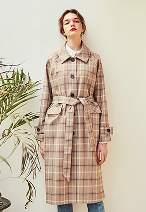 Yan13얀써틴 ROMANTIC CHECK TRENCH COAT_CHECK BEIGE