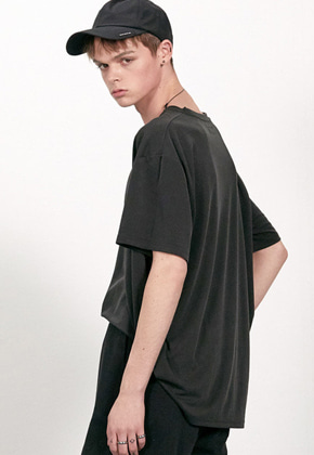 Haleine알렌느 CHARCOAL oversized soft 1/2 t-shirts(AT009)