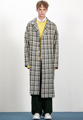 Haleine알렌느 GREY check mac coat(EJ013)