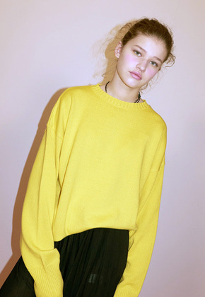 Haleine알렌느 YELLOW crewneck knit(ET014)
