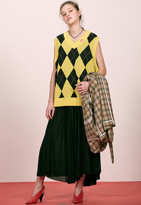 Haleine알렌느 YELLOW argyle knit vest(ET012)
