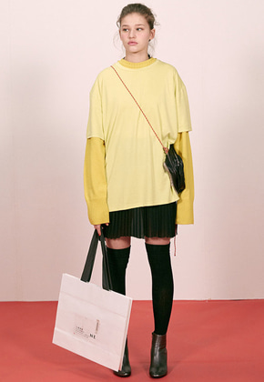Haleine알렌느 YELLOW oversized soft 1/2 t-shirts(ET009)