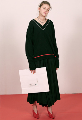 Haleine알렌느 BLACK stichdetail v-neck knit(ET005)