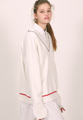 Haleine알렌느 WHITE stichdetail v-neck knit(ET001)