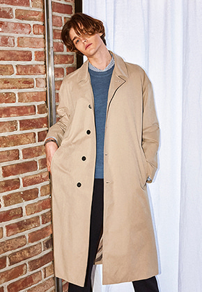 Yan13얀써틴 DROP OVERSIZED TRENCH COAT_BEIGE