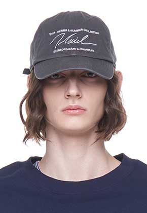Vuiel뷔엘 WASHED LOGO BASEBALL CAP _ GREY