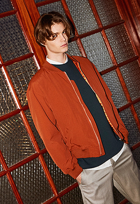 Yan13얀써틴 SEMI WIDE BLOUSON_DARK ORANGE