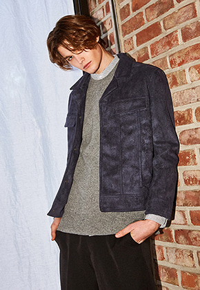 Yan13얀써틴 BLACK LABEL SUEDE BLOUSON_NAVY
