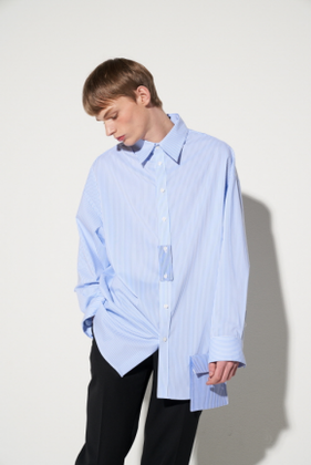 STU에스티유 OVERFIT STRIPE POCKET SHIRT BLUE (SOLD OUT)
