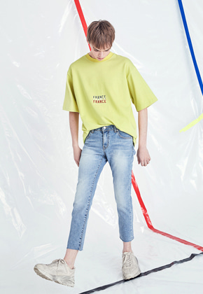 Voiebit브아빗 V223 SLIM CUTTING DENIM PANTS  LIGHT BLUE