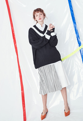 Voiebit브아빗 V224 STRIPE WRINKLE SKIRT  WHITE