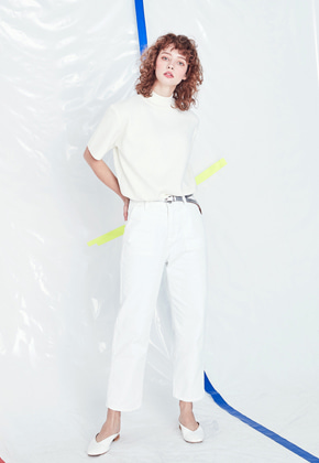 Voiebit브아빗 V225 COTTON HIGH WEST PANTS  WHITE